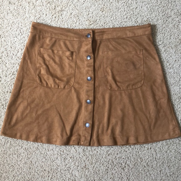 1523bb9d1 iris Skirts | Caramel Suede Button Up Skirt | Poshmark